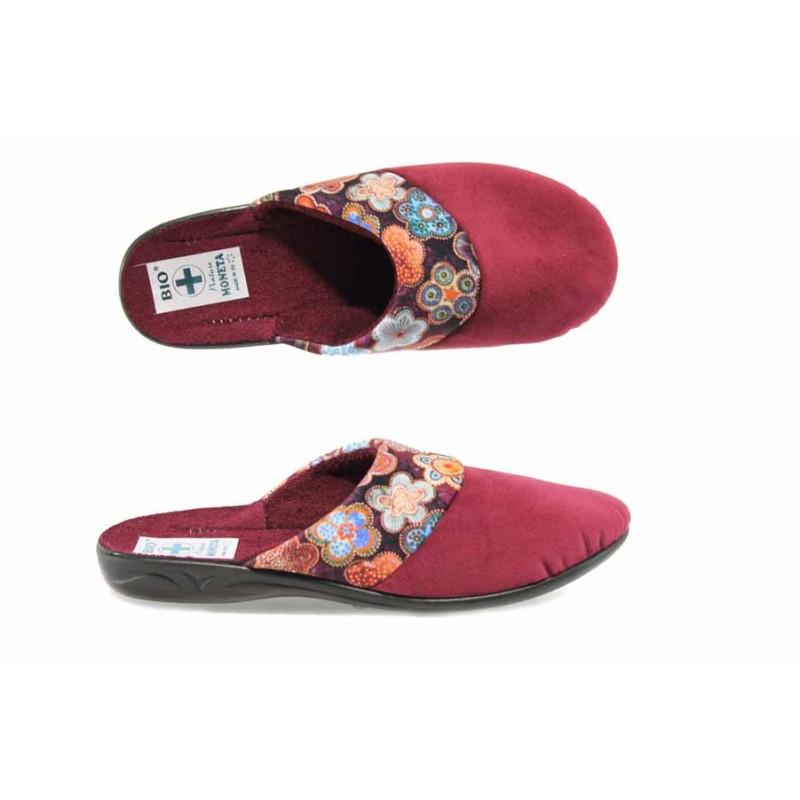 Анатомични дамски чехли с Bio ходило МА 22276 сив цветя   Домашни чехли   MES.BG