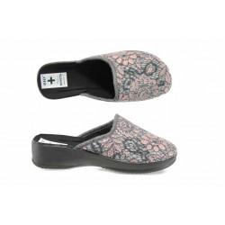 Анатомични дамски чехли с Bio ходило МА 22418 сив цветя | Домашни чехли | MES.BG
