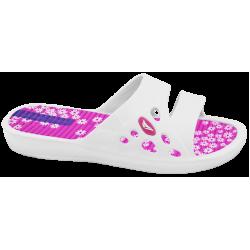 Дамски чехли с лента за широк крак ГК 30271-3 бял-розов | Дамски джапанки | MES.BG