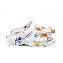 Дамски чехли-сандали тип крокс АБ 2892 бял-слънчоглед | Дамски гумени чехли | MES.BG