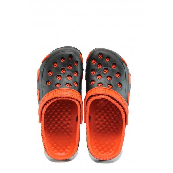 Детски чехли-сандали тип крокс АБ 6779 черен-червен 31/35 | Детски гумени чехли | MES.BG