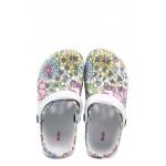 Детски чехли-сандали тип крокс АБ 2892 бял-цветя 30/35 | Детски гумени чехли | MES.BG
