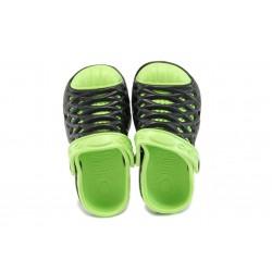 Детски чехли-сандали тип крокс АБ 6133 черен-зелен 25/29 | Детски гумени чехли | MES.BG