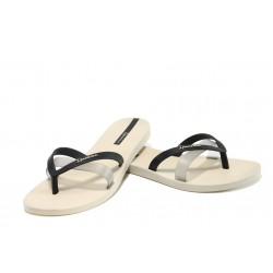 Анатомични дамски чехли Ipanema 81805 бежов-черен | Бразилски чехли и сандали | MES.BG