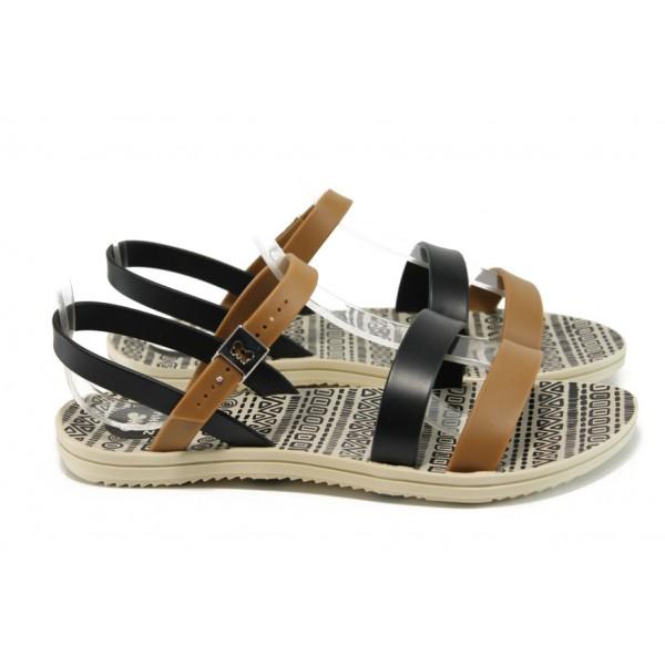 Анатомични дамски сандали Zaxy 82061 бежов-черен | Бразилски чехли и сандали | MES.BG