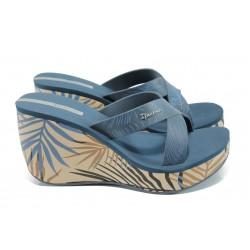 Дамски чехли на платформа Ipanema 81934 бежов-син | Бразилски чехли и сандали | MES.BG