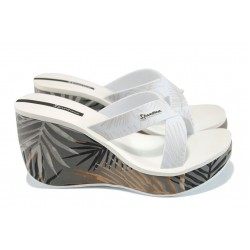 Дамски чехли на платформа Ipanema 81934 сив-бял | Бразилски чехли и сандали | MES.BG