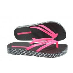 Анатомични дамски чехли Ipanema 82064 черен-розов | Бразилски чехли и сандали | MES.BG