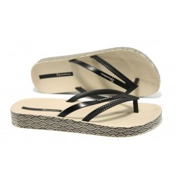 Анатомични дамски чехли Ipanema 82064 бежов-черен | Бразилски чехли и сандали | MES.BG