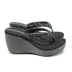 Анатомични дамски чехли на платформа Ipanema 81936 сив-черен | Бразилски чехли и сандали | MES.BG