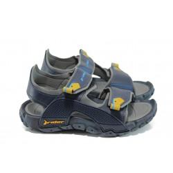 Детски сандали с лепенки Rider 81913 син-сив 31/38 | Бразилски чехли и сандали | MES.BG