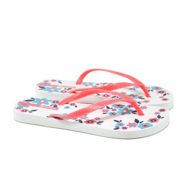Равни дамски чехли Ipanema 82000 бял-розов | Бразилски чехли и сандали | MES.BG