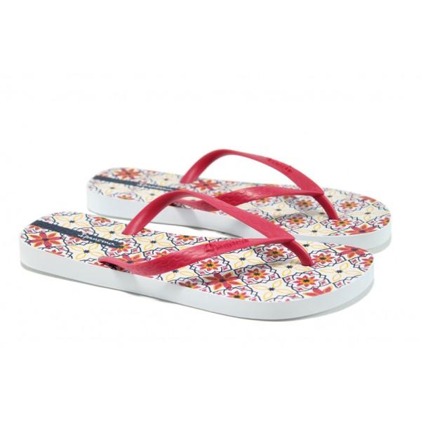 Равни дамски чехли Ipanema 82070 бял-розов | Бразилски чехли и сандали | MES.BG