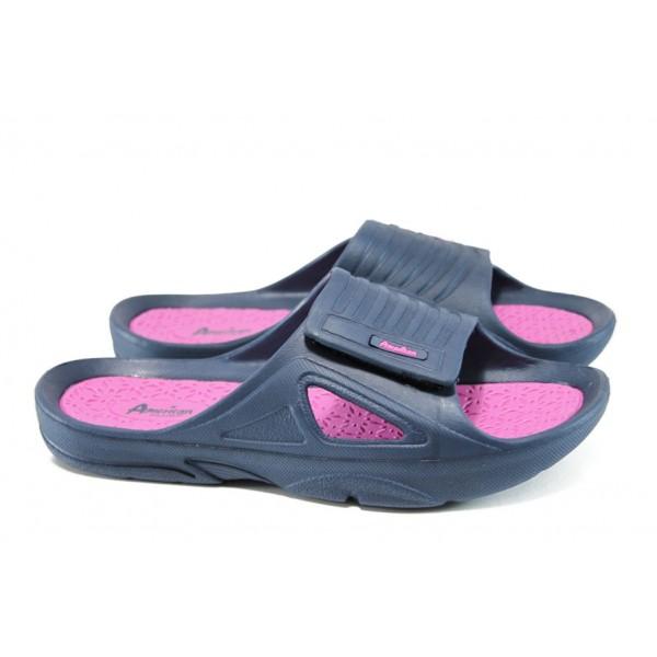 Анатомични дамски чехли с лепенка АБ 160622-1 т.син-розов | Дамски гумени чехли | MES.BG