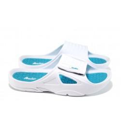 Анатомични дамски чехли с лепенка АБ 160622-1 бял-син | Дамски гумени чехли | MES.BG