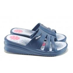 Дамски чехли на платформа АБ 160420-48 т.син | Дамски гумени чехли | MES.BG