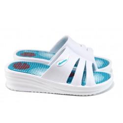 Дамски чехли на платформа АБ 160420-48 бял | Дамски гумени чехли | MES.BG