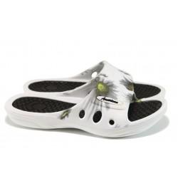 Дамски чехли с цяла лента АБ 160201 бял-черен | Дамски джапанки | MES.BG