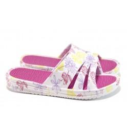 Дамски чехли с цяла лента АБ 160420-60 бял-розов | Дамски гумени чехли | MES.BG