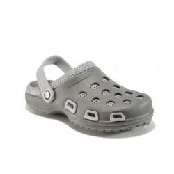 Масажни мъжки чехли-сандали тип крокс АБ 207 сив | Мъжки гумени чехли | MES.BG