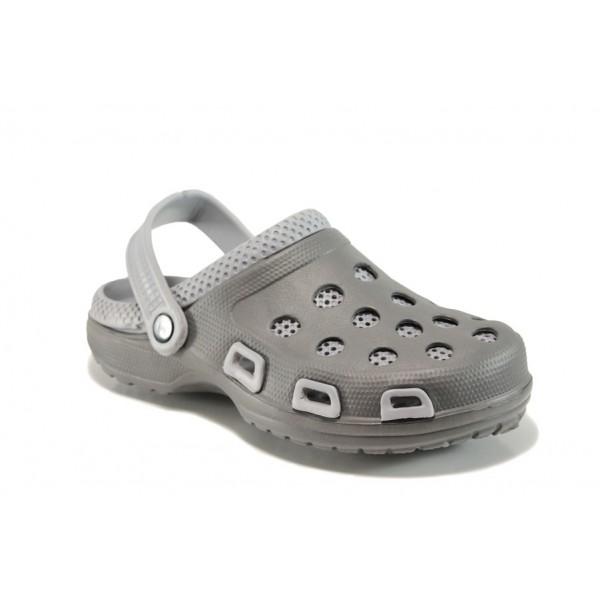 Масажни мъжки чехли-сандали тип крокс АБ 207 сив   Мъжки гумени чехли   MES.BG