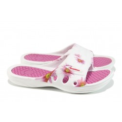 Дамски чехли с цяла лента АБ 160201 бял-розов | Дамски джапанки | MES.BG