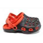 Масажни юношески чехли-сандали тип крокс АБ 207 черен-червен   Юношески гумени чехли   MES.BG