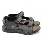 Анатомични мъжки сандали Jump 6746 сив | Бразилски чехли и сандали | MES.BG