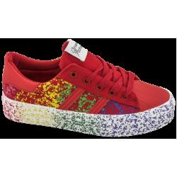 Дамски платненки на платформа ГК 30184-4 червен | Дамски маратонки | MES.BG