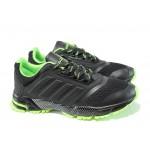 Летни юношески маратонки с класическо ходило БР 71270 черен-зелен | Летни маратонки | MES.BG