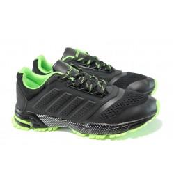 Летни юношески маратонки с класическо ходило Bulldozer 71270 черен-зелен | Летни маратонки | MES.BG