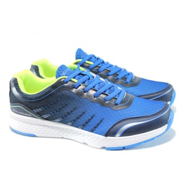 Летни мъжки маратонки с класическо ходило Bulldozer 71138 син-зелен | Летни мъжки маратонки | MES.BG
