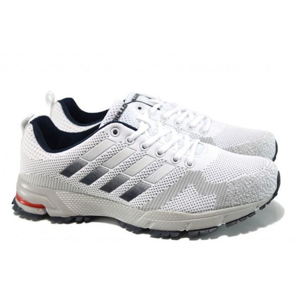 Летни мъжки маратонки с класическо ходило Bulldozer 71194 бял | Летни мъжки маратонки | MES.BG