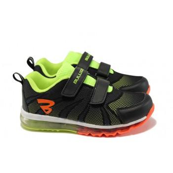 Летни детски маратонки с лепенки БР 71158 черен-зелен   Детски маратонки   MES.BG