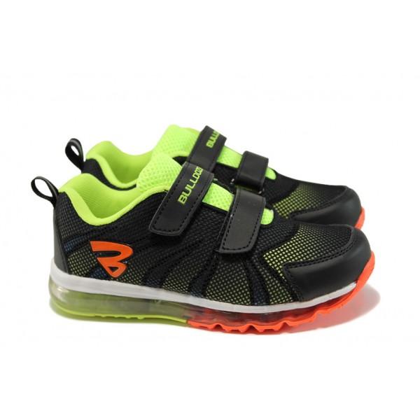 Летни детски маратонки с лепенки Bulldozer 71158 черен-зелен | Детски маратонки | MES.BG