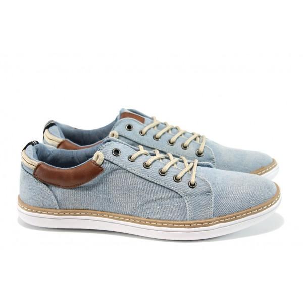 Мъжки спортни обувки с връзки ГК 30204-2 св.син дънков   Мъжки ежедневни обувки   MES.BG