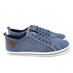 Мъжки спортни обувки с връзки ГК 30107-2 син дънков | Мъжки ежедневни обувки | MES.BG
