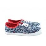 Дамски платненки с връзки ГК 30105-2 син цветя | Дамски маратонки | MES.BG