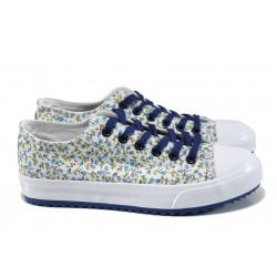 Дамски спортни обувки БР 61248 син цветя | Дамски маратонки | MES.BG