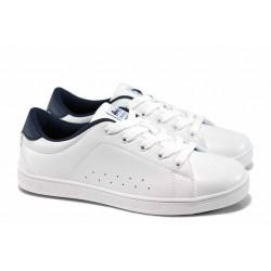 Дамски спортни обувки АБ 7299 бял–т.син | Дамски маратонки | MES.BG