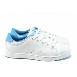 Дамски спортни обувки АБ 7299 бял–св.син | Дамски маратонки | MES.BG