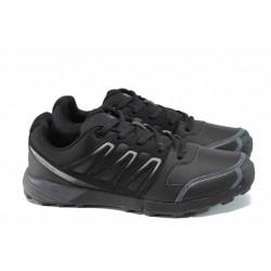 Кожени мъжки маратонки Runners 172-16118 черен | Мъжки маратонки | MES.BG