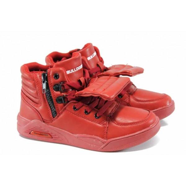 Детски високи кецове Bulldozer 72114 червен 31/35 | Детски маратонки | MES.BG