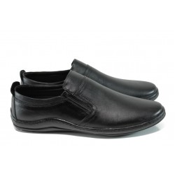 Анатомични мъжки обувки от естествена кожа МИ 1401 черен | Мъжки ежедневни обувки | MES.BG