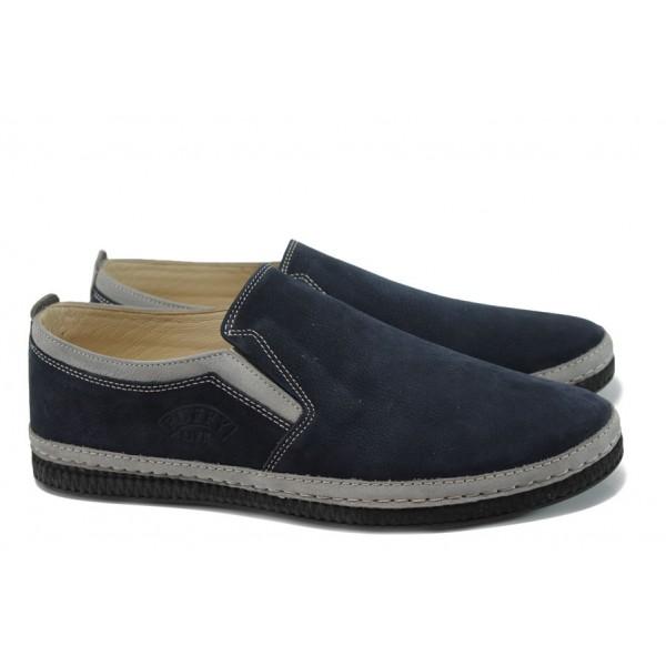 Анатомични мъжки обувки от естествен набук ПИ 787 син | Мъжки ежедневни обувки | MES.BG
