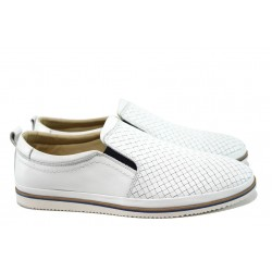 Анатомични мъжки обувки от естествена кожа МИ 101 бял | Мъжки обувки | MES.BG