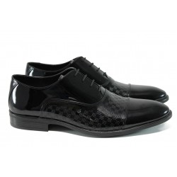 Елегантни мъжки обувки от естествена кожа-лак ФЯ 7001 черен лак | Официални мъжки обувки | MES.BG