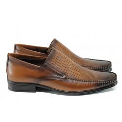 Анатомични мъжки обувки от естествена кожа МИ 06 кафе - 2017 | Мъжки ежедневни обувки | MES.BG