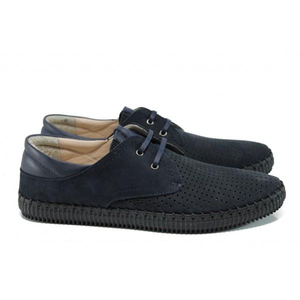 Мъжки ортопедични обувки от естествена кожа с връзки МИ 15 т.син | Мъжки ежедневни обувки | MES.BG