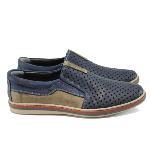 Мъжки ортопедични обувки от естествена кожа МИ 44 син | Мъжки ежедневни обувки | MES.BG